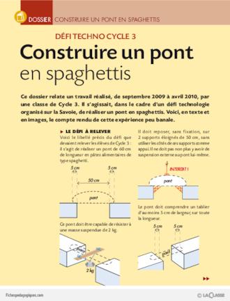 construire un pont en spaghettis dossier fichesp. Black Bedroom Furniture Sets. Home Design Ideas