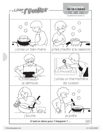 Imagerie les actions en cuisine 1 fichesp for Ustensiles pour cuisiner