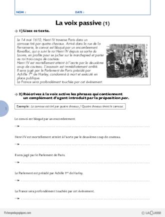 La conjugaison au Cycle 3 (10) / La voix passive ...