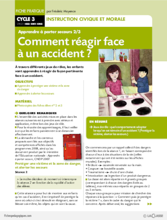 Apprendre porter secours 2 comment r agir face un accident fichesp - Apprendre a porter secours cycle 3 ...