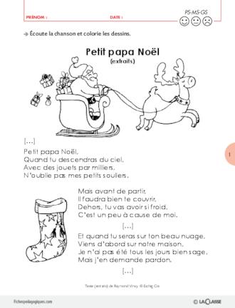 Autour De La Chanson Petit Papa Noël Fichespédagogiques Com