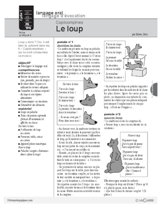 Cajolicomptines (2) / Le loup