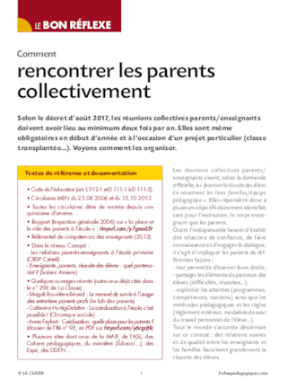 Comment rencontrer les parents collectivement ?