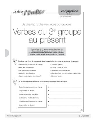 Conjugaison Ce2 3 Verbes Du 2e Groupe Au Present Fichespedagogiques Com