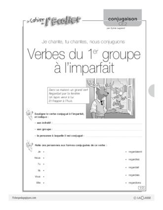 Conjugaison Ce2 7 Verbes Du 1er Groupe A L Imparfait Fichespedagogiques Com