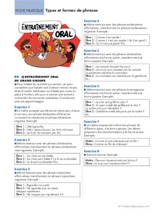 Conseil De Revisions 9 Types Et Formes De Phrases Fichespedagogiques Com