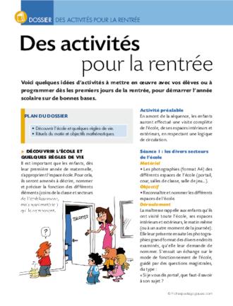 Des Activités Pour La Rentrée Des Maternelles Fichespédagogiquescom