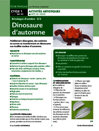 Dinosaure Dautomne Fichespédagogiquescom