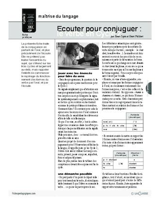 Ecouter Pour Conjuguer Le Verbe Au Cycle 2 Fichespedagogiques Com
