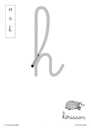 Ecrire La Lettre H En Cursive Fichespedagogiques Com