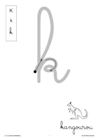 lettre k en attaché Ecrire la lettre k en cursive   FichesPédagogiques.com lettre k en attaché