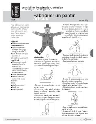 Fabriquer Un Pantin Articulé Fichespédagogiquescom