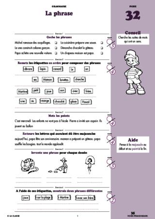 Grammaire au CE1 - FichesPédagogiques.com