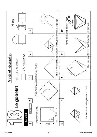 Un Gobelet En Origami Fichespédagogiquescom
