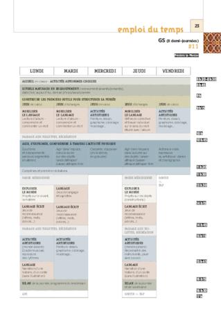 foto de Emplois du temps en GS FichesPédagogiques com