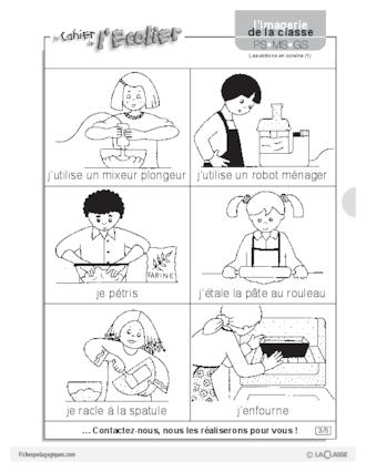 Imagerie les actions en cuisine 1 fichesp for Cuisiner pour des amis