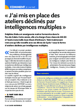 J'ai mis en place des ateliers déclinés par intelligences multiples