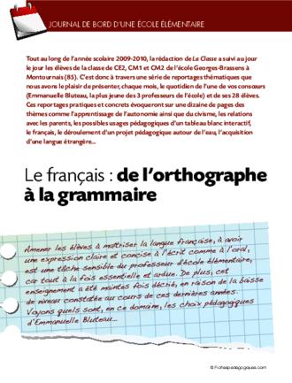 Journal de bord l mentaire 3 le fran ais de l 39 orthographe la gram - Le journal de francois ...