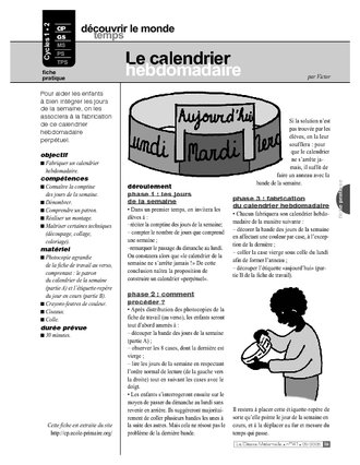 Le calendrier hebdomadaire (Cycle 1)