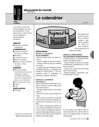 Le calendrier hebdomadaire (Cycle 2)