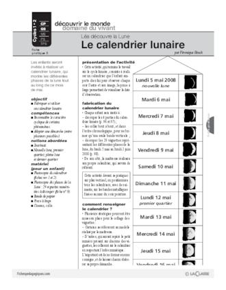 Calendrier Solunaire.Lea Decouvre La Lune 5 Le Calendrier Lunaire