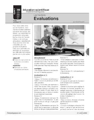 Les fractions (10) / Evaluations