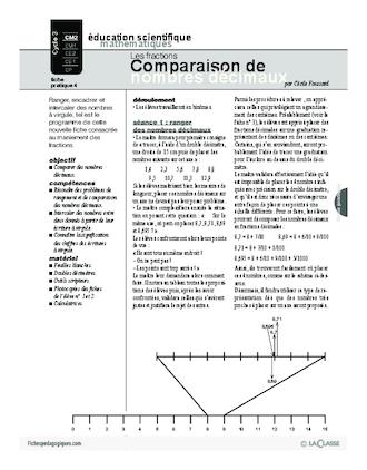 Les Fractions 4 Comparaison De Nombres Decimaux Fichespedagogiques Com