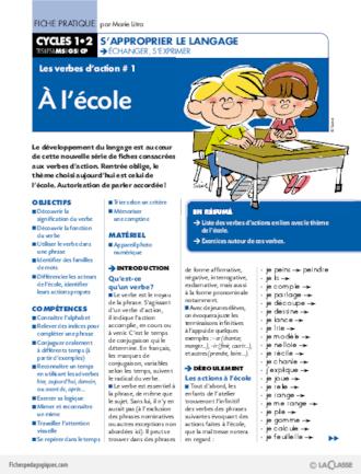 Les Verbes D Action 1 A L Ecole Fichespedagogiques Com