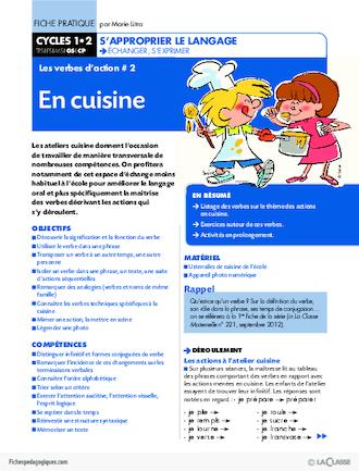 Les verbes d 39 action 2 en cuisine fichesp - Fiche bilan de competences bac pro cuisine ...