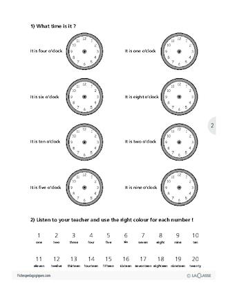 Top L'heure / L'anglais par le jeu - FichesPédagogiques.com PB36