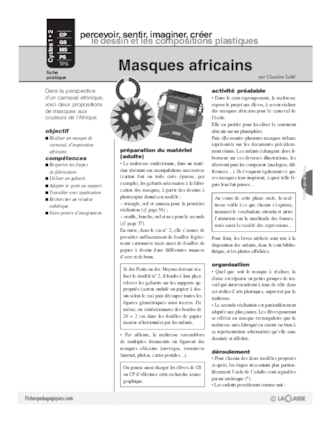 masque africain histoire des arts cycle 3
