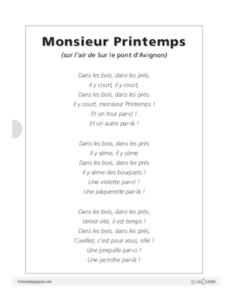 Monsieur Printemps Fichespédagogiquescom