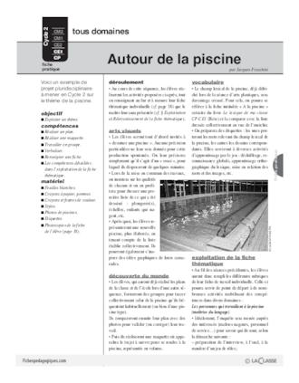 Projet autour de la piscine fichesp for Autour de la piscine