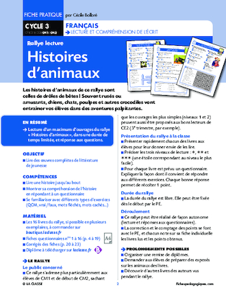 Rallye lecture Histoires d'animaux