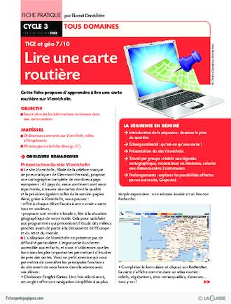 lire une carte ce2 TICE et géo (7) / Lire une carte routière   FichesPédagogiques.com